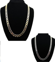 Wholesale 12 mm chain resale online - Men s Hiphop Fashion K Gold Plated Alloy cm inch Cuban Link Chain Necklace mm