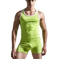 Wholesale Men S Bodywear - Wholesale- Men's Bodysuit,Man Body Suits Sexy Man Bodywear, Men's Cotton Tank Top Singlets