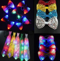 Wholesale light up christmas tie - Adults children Sequins LED Necktie Light Up Neck Tie luminous Flashing Bowtie Party Favor gift Christmas Halloween club bar stage props