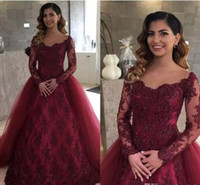 Wholesale Two Hand Image - 2018 Illusion Neckline Burgundy Lace Long Sleeves Evening Dresses with Removable Skirt Arabic Long Prom Party Gowns Vestidos De Fiesta