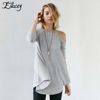 Wholesale Simple Cotton Shirt Women - Wholesale- New Arrival 2016 Spring Summer Women T-shirts Three Quarter Sleeve Casual Loose Tee Tops Simple Fashion Off The Shoulder T Shirt