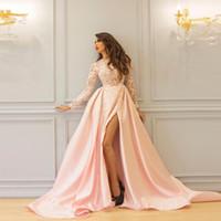 rosa joyas vestidos de baile al por mayor-Vestidos de fiesta largos Dubai Pink Jewel Neck Sexy Split falda Sweep tren Sheer Top Desigenr apliques Vestido De Festa