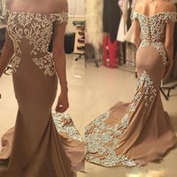 Wholesale Cheap Strapless Dresses For Women - Brown Mermaid Prom Dresses with Appliques Beaded Strapless Evening Dresses For Women Sparkly Custom Made Cheap Prom Gowns 2017