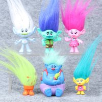 Wholesale Collectible Dolls Wholesale - Trolls Movie 6Pcs Set 8cm Dreamworks Figure Collectible Dolls Poppy Branch Biggie PVC Trolls Action Figures Doll Toy Trolls