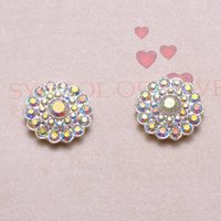 Wholesale J0087 mm diameter metal rhinestone embellishment all ab crystals silver plating flat back