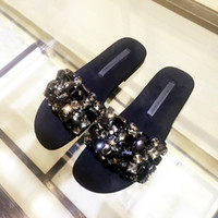 sandalias planas sexy pedreria al por mayor-2017 Moda Mujer Zapatos Planos Rhinestone Abalorios Diapositivas de Cristal Sandalias Adornadas Sexy Negro Playa Zapatos Mujer Foto Real flip flop