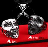 Wholesale V Ring Size - JLN 316L Titanium Stainless Steel Ring New V For Vendetta V Mask Man Ring Biker Skull Fashion Jewelry
