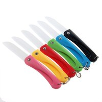 Wholesale Zirconia Knife Blade - Color Random White Blade Folding Zirconia Kitchen Cooking Knife Fruit Vege Meat Slicing Paring Ceramic knife with ABS Handle WA1589