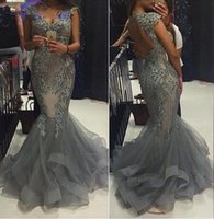 Wholesale Classic Tulle Sleeve Dresses - Luxury 2017 Mermaid Evening Gowns with Capped Sleeves V-neck Hollow Back Tiered Ruffles Formal Gowns For Prom Party Dresses Plus Size