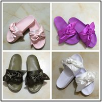 Wholesale Ladies Butterfly Sandals - New Womens Fenty Bandana Slide Wns Slippers Designer Ladies Rihanna Butterfly Slippers Gold Purple Blue BOW SATIN SLIDE SANDALS