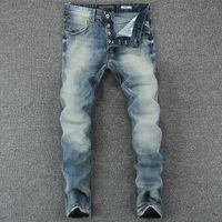 Wholesale Preppy Mens Clothes - Wholesale- England Mid Stripe Mens Buttons Jeans Slim Fit Denim Pants Male High Quality Brand Clothing Moto Blue Jeans With Logo Men RL602