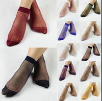 Wholesale Womens Wholesale Silk Shorts - Womens Short Sock Candy Color Silk Socks Summer multi-color Invisible Transparent Elastic Short Sock Ankle Silk Stocking KKA1390