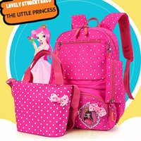 Wholesale School Bag Princesses - New Children's bag student packs printed cute princess three-piece girl Backpack Shoulder Bag Handbag pencil case school bags