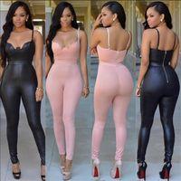 Wholesale Women S Jumpsuit Splits - 2017 Hot Sexy Women Hollow Out Black Jumpsuits Spaghetti Club Party Bodysuit Women Backless Pink Bodycon Jumpsuit