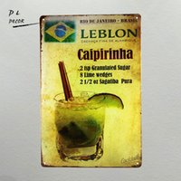 DL- Caipirinha cocktail METAL TIN SIGN Vintage Bar Pub da parete in metallo Decor uomo caverna targhe da parete per esterni