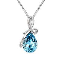 collier pendentif goutte d'eau swarovski achat en gros de-Collier pendentif en cristal de conception de goutte d'eau de mode fait avec des cristaux autrichiens de Swarovski pour 2017 cadeau de femmes