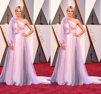Wholesale Heidi Klum Purple Dresses - 2016 Light Purple Heidi Klum in Marchesa Celebrity Red Carpet Dresses 88th Academy Awards Oscars One Shoulder Tulle Backless Evening Dresses