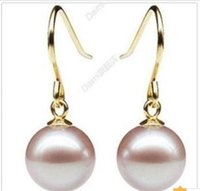 Barato Enorme Mar Australiano Do Sul-ENORME 9-10MM NATURAL AUSTRALIANO MAR DO SUL GENUINO PINK PURPLE PEARL EARRING 14K