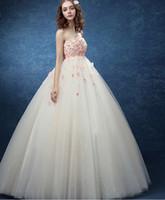 Wholesale Discount Cheap Flower Balls - Lace Wedding Dresses Plus Size Cheap Pregnant Bridal Wear Discount Simple Wedding Dresses Colorful 3D-Floral Appliques Vestidos de Novia