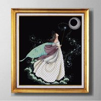 Wholesale Cross Stitch Print - Full moon full stitch fairy, DIY Western handmade Cross Stitch Needlework Sets, embroider Counted Print on canvas DMC 11CT  14CT