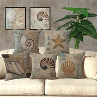 Wholesale Cushion Starfish - New Mediterranean Sea Beach Style Starfish Shell Cushion Covers Pillowcase Decorative Throw Pillow Cover 45x45cm Home Decor