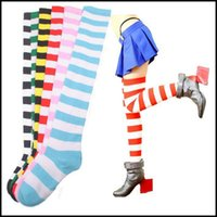 Wholesale Yellow Striped Tights - Wholesale-New trend Striped tight knee high socks Girls Womens Halloween Cosplay meias feminina calcetines cortos mujer Tonsee
