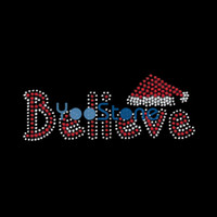 Wholesale Wholesale Christmas Iron Appliques - Christmas Word Believe Rhinestone Transfer Iron On Hot Fix Applique For Women T Shirts