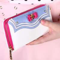 2016 New Cartoon Bow-tie Sailor Moon Ladies Long Zipper Bolsa Feminina Mulheres Marca Leather Kawaii Wallet Purse Portefeuille Femme