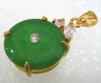 Wholesale 18kgp gold necklace - Wholesale cheap 2 color! beautiful green jade bead bless 18KGP pendant necklace free chain