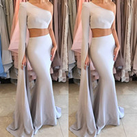 Wholesale Single Cutaway - 2017 Stylish Two Piece Prom Dresses Fashion One Shoulder Zipper Backless Mermiad Evening Gowns Stunning Single Long Sleeve Party Dresses