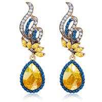 Wholesale Ear Drops Earrings Diamonds - Fashion Trendy Water Drop Earrings Blue White Diamond Sparkling Gemstones Crystal Studs Ear Ornaments Women Earrings Jewelry
