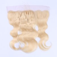 Wholesale Bleach Blonde Hair - #613 lace frontal Body Wavy 13*4'' Ear to ear blonde lace frontal with baby hair bleached knots