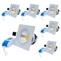 Jiawen 6pcs / lot 3W 5W 7W Anti-éblouissement Downlights Modèle carré COB LED Plafonnier Warm / Warm White (AC 85 ~ 265V)