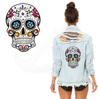 Wholesale Patches Flower Clothing - Hot Flower skull 26*19CM patches for clothing A-level Washable Stickers T-shirt Dresses Sweater iron on patches