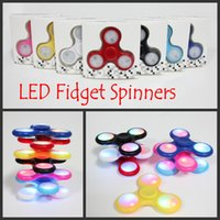 Wholesale Metal Finger Boxing - 2017 New LED Light Fidget Spinner with Retail Box 8 Colors Switch Triangle Finger Spinners Spinning Decompression Toys Removeable Battery