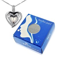 Wholesale Double Heart Gift Box - Gift Box 925 Silver Double Heart Locket Pendant with 6-7mm Round Akoya Cultured Pearl in Oyster