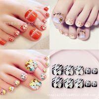Wholesale fake foot nail - Wholesale- Summer toenails finished manicure Kawaii foot patch nails to 24pcs  box Fake nails T018