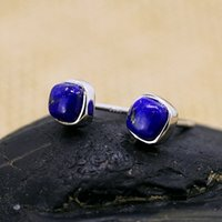 Wholesale S925 silver jewelry fashion lady Lapis exquisite Earrings little and dainty ear clip earrings retail