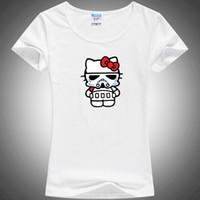 Wholesale Kitty Sale T Shirts - Wholesale-2016 Newest model Women hello kitty & movie joke T-shirts 100% milk silk tops&tees hot sale blusas femininas R006