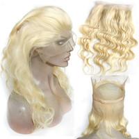 fermetures frontales achat en gros de-360 Dentelle Frontale Fermeture Blonde Corps Vague 22.5 * 4 * 2 pouce 613 Brésilienne Vierge Cheveux Humains 360 Dentelle Frontale Avec Bébé Cheveux