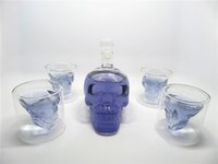 Wholesale Double Walled Tumblers Set - Hot Sell 400 ml Handblown SKULL Shaped Clear Borosilicate Glass Wine Bottle Set with Four Double Wall Tumblers