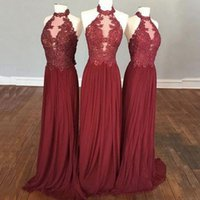Cheap halter wedding dress corset - Burgundy Chiffon Country Bridesmaid Dresses Long 2017 Cheap A Line Elegant Halter Vintage Lace Corset Illusion Sheer Wedding Party Gowns