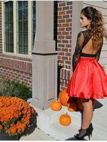 Wholesale Long Line Skirt Pattern - Black Red Long Sleeves Open Back 2 Piece Homecoming Dress 2017 Lace A Line Beaded Short Cocktail Skirt