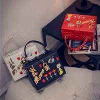 Wholesale Doll Small Box - Autumn and winter fashion handmade embroidery flowers doll small box handbag lock shoulder single oblique cross small bag