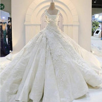 Wholesale Empire Ball Gown Wedding Dresses - Vintage Ball Gown Wedding Dresses Square Lace Appliques Sequins Cathedral Train Wedding Gowns Satin High Quality Customized Bridal Gowns