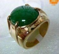 Wholesale Red White Jade Ring - Tibet silver green jade Men's ring size 10#