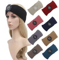 Wholesale Knit Hats Beads - New women fashion knitted jewelry beads headbands knit headwrap hats Ladies Warm ear warmers 7 color