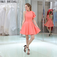 Wholesale Bridesmaid Dresses Peach Sleeves - Peach Color One Shoulder Short Bridesmaid Dresses Junior Girls Party Gowns Cheap Ruffles Sleeve Bridesmaid Dress