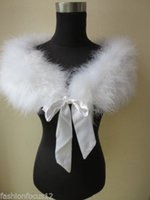 Wholesale Ostrich Feather Shawl White - Free shipping Fashion Lady real ostrich feather fur cape wedding Accessories scarf white