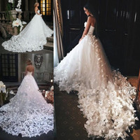 Wholesale Couture Wedding Flowers - Speranza Couture 2017 Princess Wedding Dresses with Flowers And Butterflies in Cathedral Train Arabic Middle East Church Garden Wedding Gown